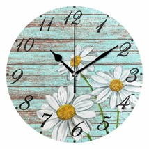 "Wall Clock 10"" Floral Daisies Vintage Wooden Style Rustic Shabby Chic Fa... - $49.00"
