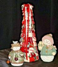 Christmas Tree, Snowman Figurine 2 AA20-7141 Vintage
