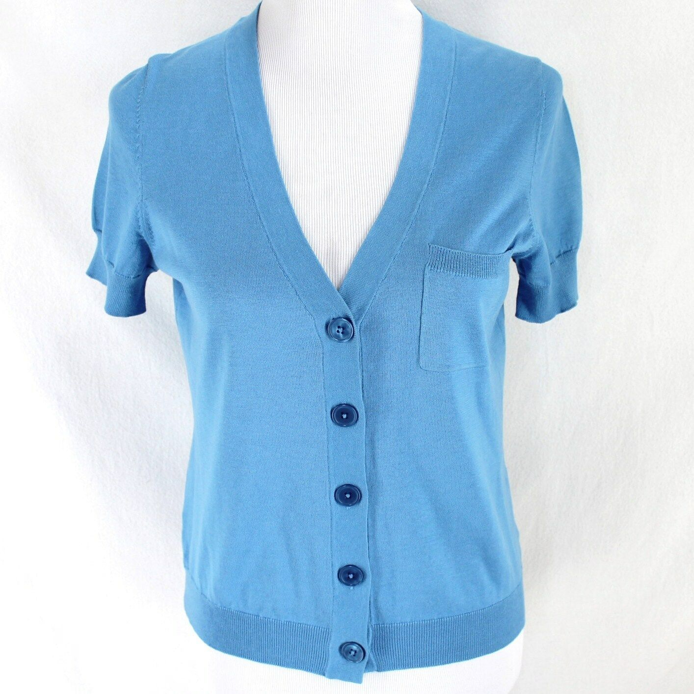 Primary image for Talbots Cardigan Sweater Sz MP Blue Short Sleeve Lightweight Silk Blend