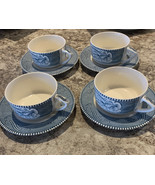 Rare VTG Royal China Carrier & Ives 4 Flat Handle Cups With scroll - Blue - $38.80