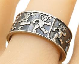 MEXICO 925 Silver - Vintage Oxidized Teddy Bear Pattern Band Ring Sz 12 ... - $27.23