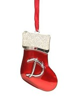 "ENAMELED METAL ""D"" MONOGRAM  XMAS STOCKING w/FINE EUROPEAN CRYSTAL XMAS ... - $9.88"