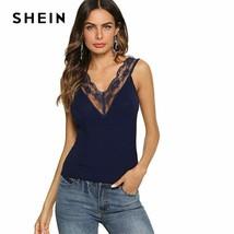 SHEIN Navy Sheer Lace Trim Double V Neckline Slim Fit Plain Top Women Au... - $17.97