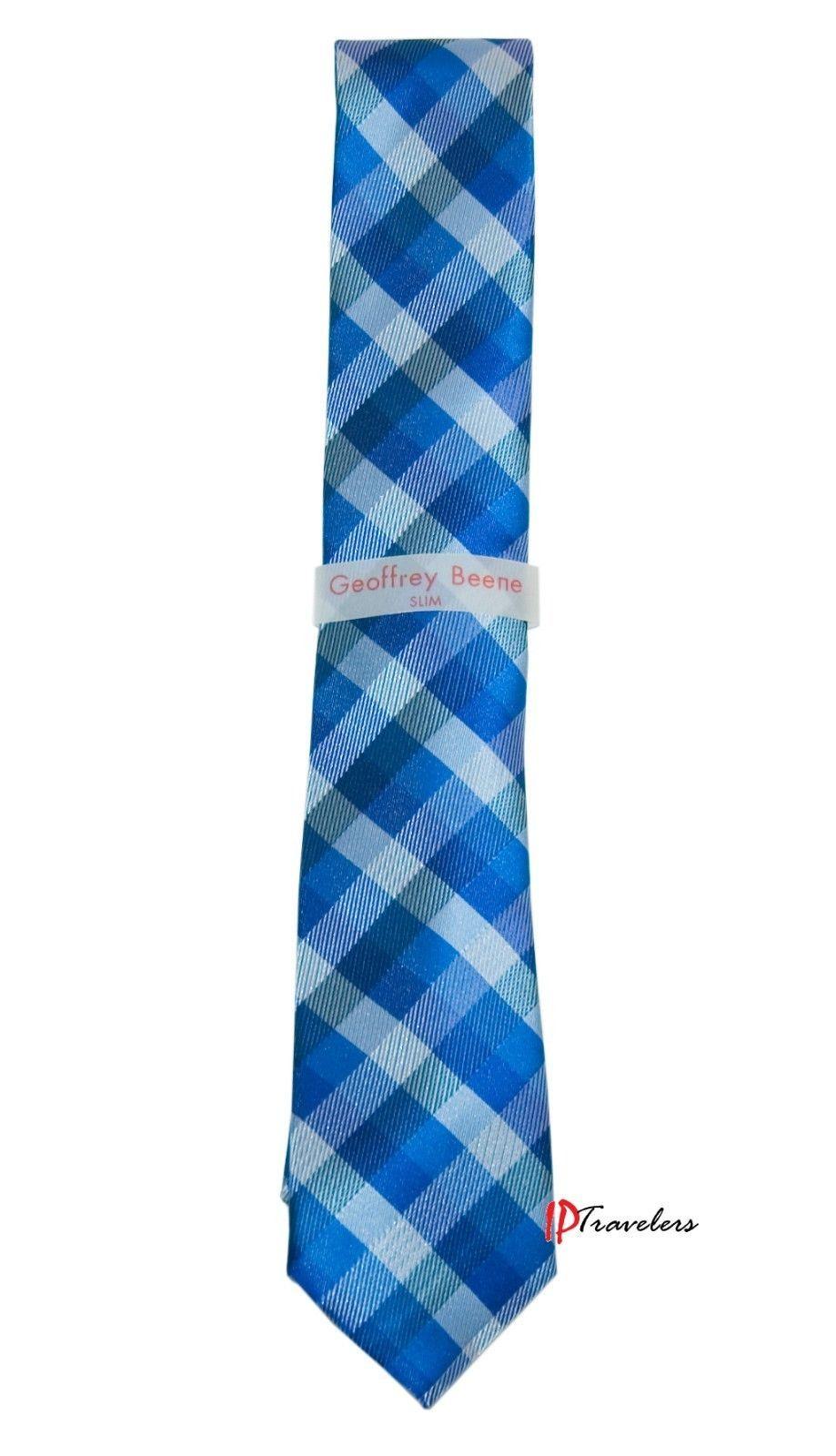 Geoffrey Beene Men's Neck Tie Slim Dark Blue and White Checkered 100% Polyester