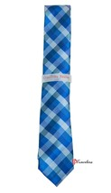 Geoffrey Beene Men's Neck Tie Slim Dark Blue and White Checkered 100% Po... - $22.00