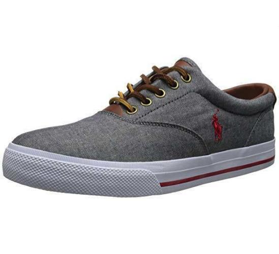 NEW IN BOX Polo Ralph Lauren Men's Vaughn Grey Chambray Leather Sneakers 10.5