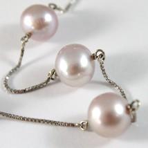 Bracelet White Gold 750 18K Pearls Purple Lavender Diameter 9-10 mm Chain Veneta image 2