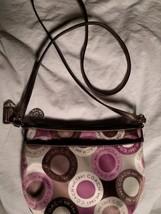 Coach Snaphead Sateen Small Shoulder Handbag Tan/Pink/Brown - $39.59