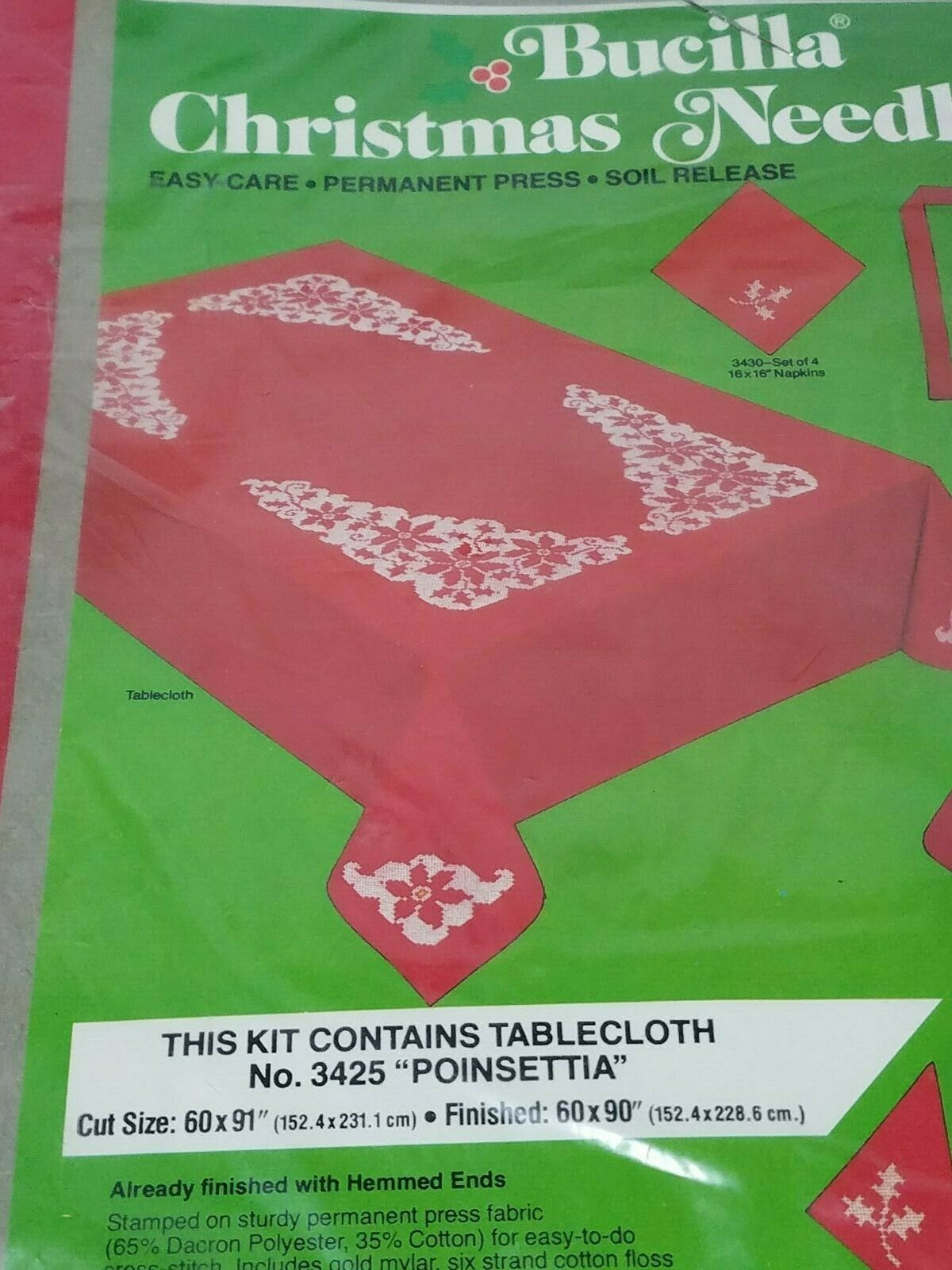 "Primary image for Bucilla Christmas Needlecraft kit 60x80"" Poinsettia Tablecloth Pre-worked 3425"