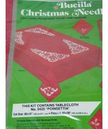 "Bucilla Christmas Needlecraft kit 60x80"" Poinsettia Tablecloth Pre-worke... - $15.79"