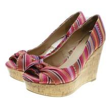 Report MURPHY Womens Pink Striped Serape Tribal Peep Toe Cork Wedge Heel... - $18.80