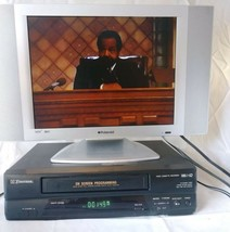 Emerson VCR3010A VHS 4 Head Black VCR Player With Remote & Cable Tested 120V 16W - $74.99