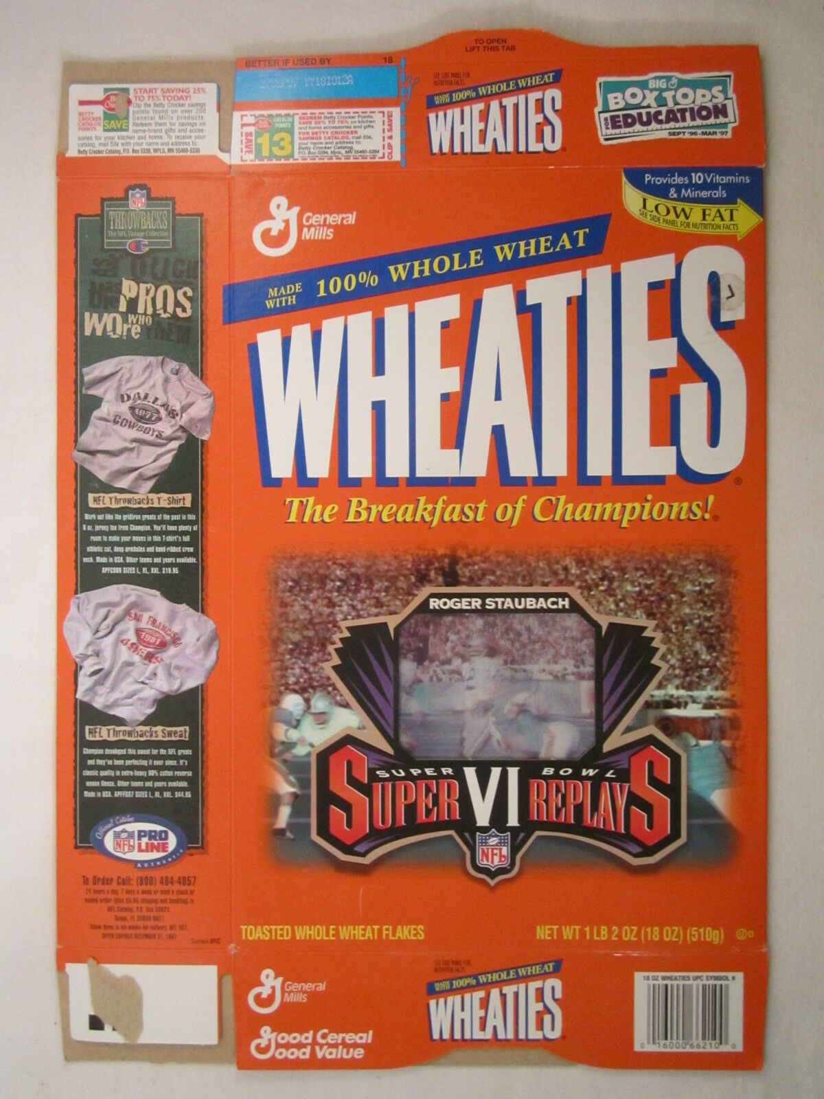 Primary image for Empty WHEATIES Box 1996 18oz SUPER BOWL VI REPLAYS ROGER STAUBACH [Z202c8]