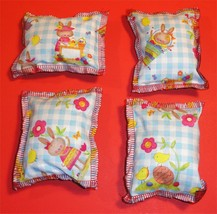 Cat Catnip Pillow Toy - Hand Made Bunny Blue Patterns Rectangle - 4 ea - $5.50