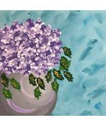 Hydrangea of Violet, Original Painting, Acrylic, Signed, 12 x 12, Unique Art - $100.00