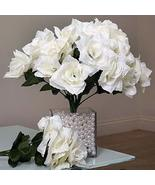 84 Artificial Open Roses Wedding Flowers Bouquets Ivory YSefa - $51.85