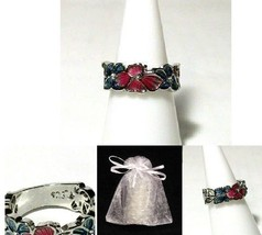 NEW #709 Ring Size 6 Simulated Diamond Pink Blue Flower Stamped 925 - $19.99