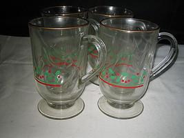 8 Arbys Irish Coffee Footed Mugs Christmas Holly Berry - $18.99