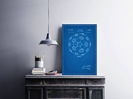"Buckminster Fuller Geodesic Dome Patent - Blueprint Style - Art Print - 18"" tall - $16.00"