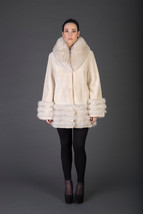 Luxury gift/Beige Beaver Fur Coat/Fur jacket with Collar and Tripple cuf... - $950.00