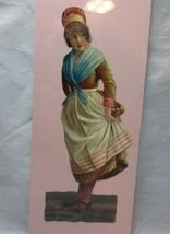 Victorian embossed die cut. European farm lady - $8.99