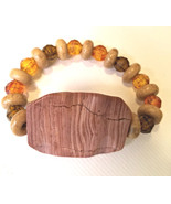 natural brown large stone bracelet beaded stretch plastic wood beads gem... - $6.99