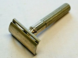 Vintage Gillette Safety Razor Double Edge Turn to Open 3 Piece Silver Co... - $14.84