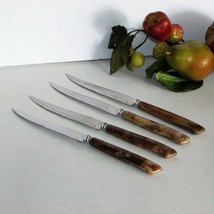 Vintage Steak Knives Galaxie Hollow Ground Stainless 4 Faux Bone Handle Knife - $18.99