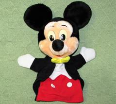 "Vintage Mickey Mouse 12"" Hand Puppet Disneyland Disney World Plush Yellow Tie - $14.85"