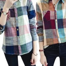 Fashion Women Plaid Blouse Shirt Casual Cotton Linen Long Sleeve Shirts Slim Fit - $26.34+