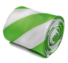 Frederick Thomas blanc et clair citron vert Barber RAYURE Cravate hommes... - $24.38