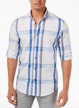Alfani Men's Sarason Plaid Shirt,  Bright White, Size S, MSRP $55 - $21.77