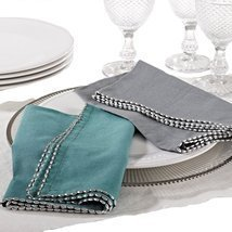Fennco Styles Unique Beaded Border 20-inch Cotton Cloth Napkins, Set of ... - $46.52