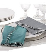 Fennco Styles Unique Beaded Border 20-inch Cotton Cloth Napkins, Set of ... - £34.94 GBP