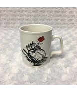 B Kliban Cats holding Red Flower Rose Vintage 1979 Kiln Craft Coffee Cup... - $25.23