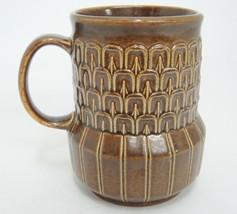 "Wedgwood Pennine Mug Brown Embossed Vintage Discontinued 4"" Made in England - $29.69"