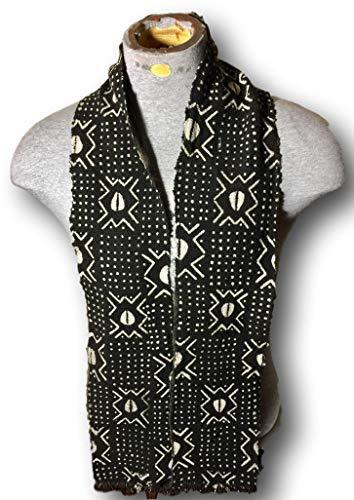 Primary image for African Mud Cloth Kente Print Scarf Stole Black Cowri Shell Style