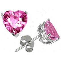 1CT-3CT Amazing 14K Wg Plated Silver Heart Shape Rose Sapphire Stud Earrings - $20.29+