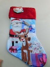Christmas Stocking Rudolph Red Nosed Reindeer Faux Fur 17 Inch Ruz NWT  - $7.91