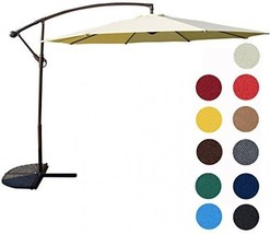 Sundale Outdoor 10 Feet Offset Patio Umbrella W/Crank, Light Yellow 220g... - $246.88 CAD