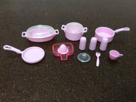 Barbie Dollhouse Scale Dishes Lot Matching Pink Pots & Pans Soda Cans #6 - $19.79
