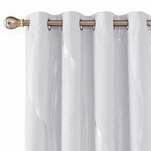 Deconovo Blackout Curtains Wave Foil Printed Room Darkening Drapes Therm... - $36.69