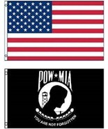 3x5 USA American Flag & POW MIA Flag 3' x 5' USA POW Flag WHOLESALE LOT ... - $24.00