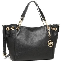 Michael Kors Jet Set Chain Item Large Gather Leather Shoulder Tote Black... - $189.99