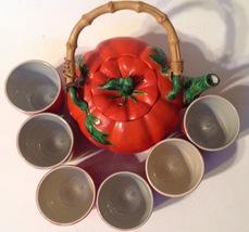 Occupied Japan Tomato Teapot and 6 Cups Set Vintage Porcelain - $64.35