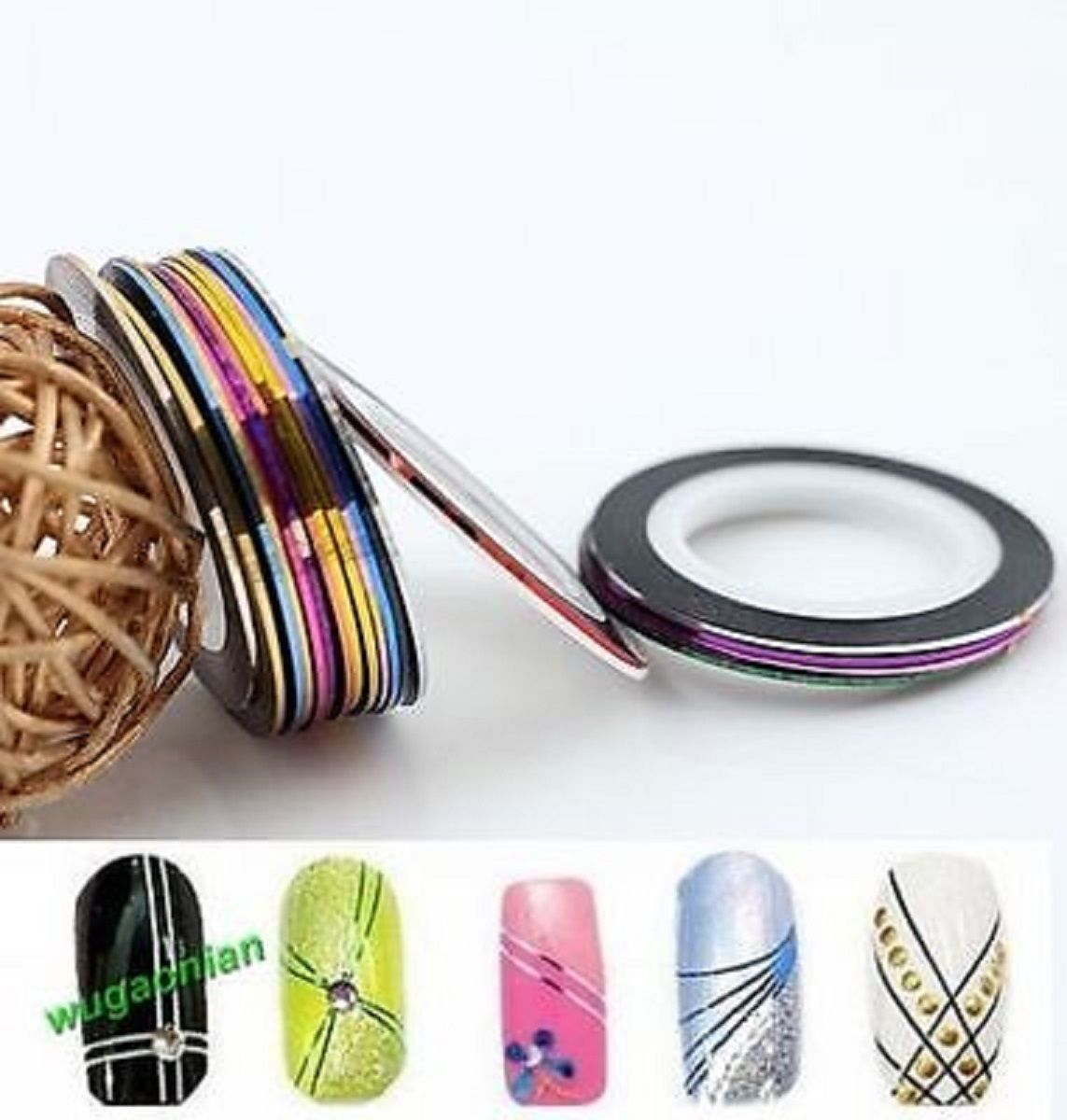 AA3: 2PCS BLACK Rolls Striping Tape Line Nail Tips Sticker DIY w/Free Gift image 6