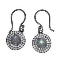 925 Sterling Silver Labradorie Cubic Zirconia Double Halo Earring - $15.41