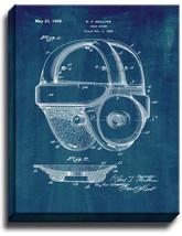 Football Head Guard Helmet Patent Print Midnight Blue on Canvas - $39.95+
