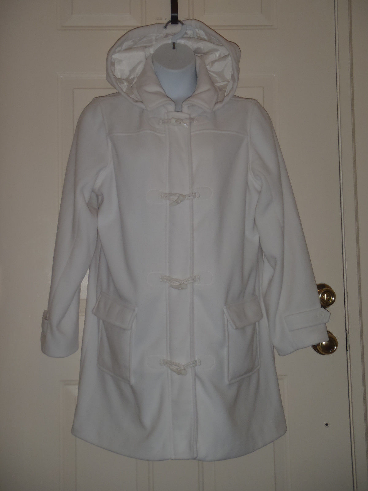 Denim Co Microfleece Lined Toggle Coat Removable Hood White XL  A3122