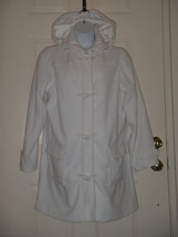Denim Co Microfleece Lined Toggle Coat Removable Hood White XL  A3122 - $46.39
